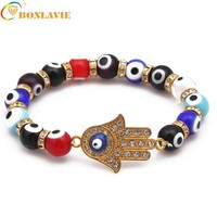 Fashion Hamsa Hand Blue Evil Eye Charm Men Bracelets