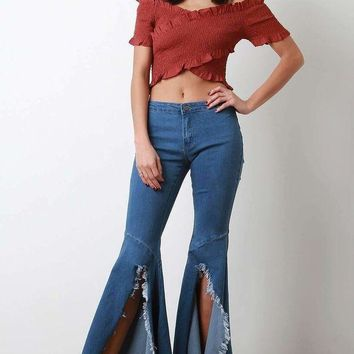 ICIKON3 High Waist Slit Frayed Hem Bell Bottom Jeans