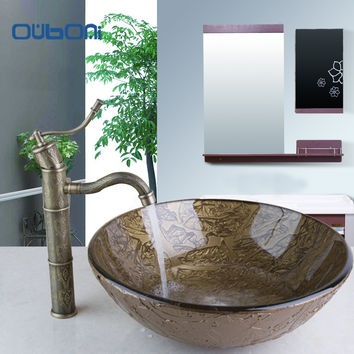 OUBONI Modern Design Painting Bathroom Round Art  Washbasin Tempered Glass Vessel Sink With Antique Brass  Faucet Set