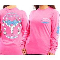 Country Life Outfitters Pink Southern Attitude Cotton Deer Skull Bow Hunt Vintage Long Sleeve Bright T Shirt