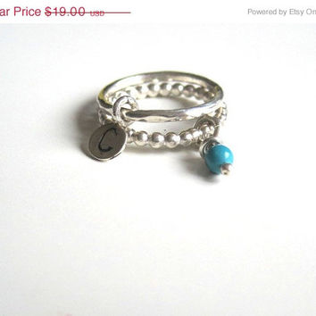 Silver beaded ring, Knuckle ring stack, Gemstone stack ring, Stacking initial ring, Sterling silver midi ring, Turquoise gemstone ring