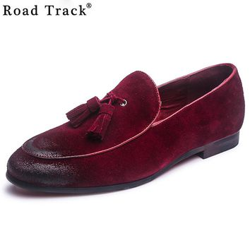 Suede Leather Men Loafers Vintage Tassel Men Flats New Style Low Heel Moccasins Home Fashion Pointed Toe Men Shoes