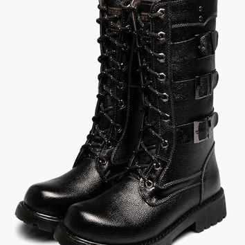 Mens Leather Miliatary Lace up Buckle Boots