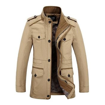 Mens Plus Size Military Style Multi Pockets Coats