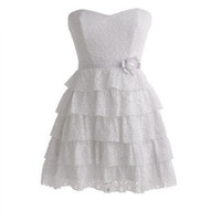 Tiered Strapless Lace Dress