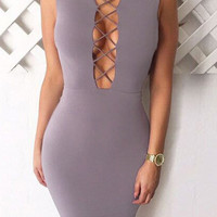 Grey Bandage Sleeveless Midi Dress