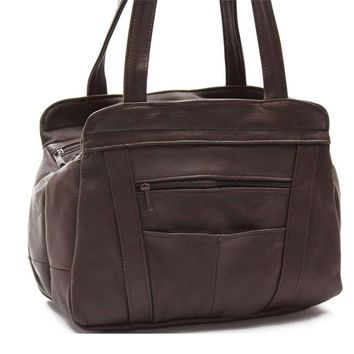 3 Compartments Tote Leather Bag - Brown