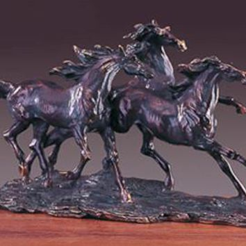 Three Horses Bronze Figurine- 18""""
