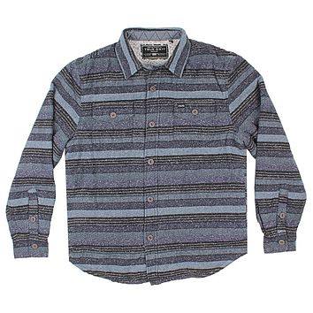 Textured Stripe Shirt Jacket with Sherpa Lining in Black by True Grit