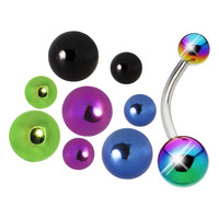 Anodized Titanium 5 Pair Interchangeable Belly Ring Pack