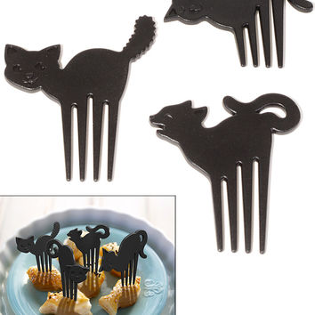 Meow Munchies Black Cat Party Snack Picks