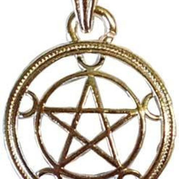 "1"" Pentagram W-crescent Moons"