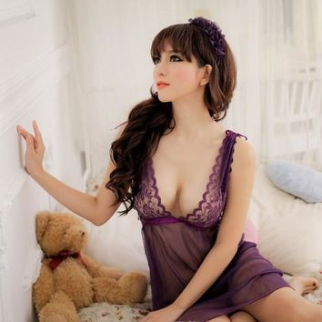 Sexy Lace Bra Sheer Mesh Babydoll & G-String Women's Lingerie Set Dark Purple