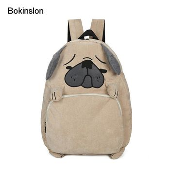 Bokinslon Backpack Women Bag Cartoon Fashion Casual Backpack Bags Woman Corduroy College Wind Girl School Backpack