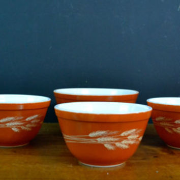 Set of 4 Pyrex Autumn Harvest Wheat Orange Bowls, Vintage Pyrex, Autumn Harvest Wheat Bowls, Pyrex Autumn Wheat, Corning Mixing Bowl
