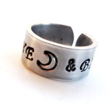 Love You To The Moon And Back Ring. Hand Stamped Aluminum Ring with Heart and Moon. Customizable