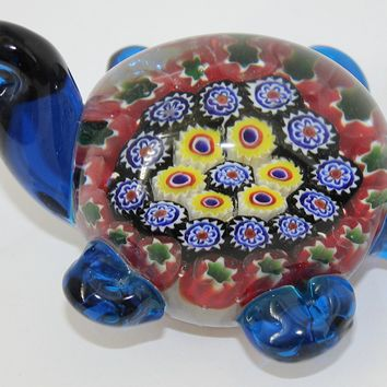 "Murano Design Glass Art Multicolor Turtle Paperweight 4"" Long"