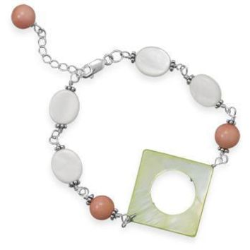 "7""+1"" Shell and Coral Bracelet"