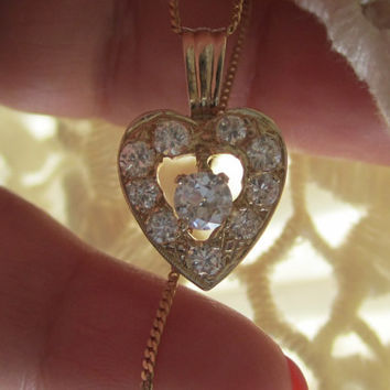 Take 10% off w/ shp coupon code Art Deco Old European Cut Diamond Heart Pendant Necklace 14k Gold