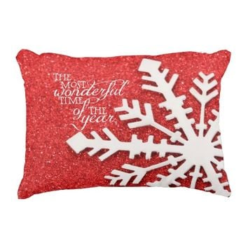 Red Sparkles With Christmas Quote Accent Pillow