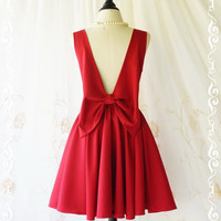 A Party Angel Dress Blood Red Burgundy Party Dress Backless Prom Dress Bow Back Cocktail Dress Burgundy Wedding Bridesmaid Dresses XS-XL