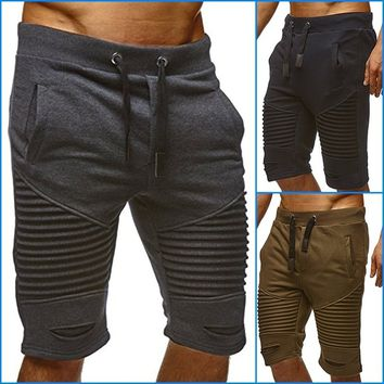 Man's Shorts Fashion Elastic Waist Solid Color Two-side Pockets  Summer Casual Sport Pleated Lac Up Jogger Pants