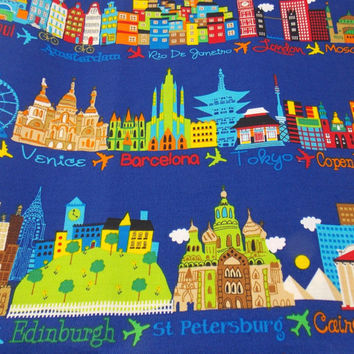 Fabric Cities Around the World By The Yard Novelty Fabric Quilt Fabric Craft Fabric Pillow Fabric Pillows Curtains