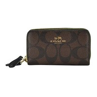 COACH SMALL DOUBLE ZIP COIN CASE IN SIGNATURE