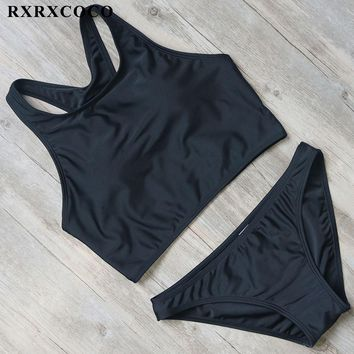 RXRXCOCO Black Bikini Set Women Swimwear New Sports Bathing Suit Solid Bikini Vest Style Low Waist Two Pieces Swimming Swimsuit