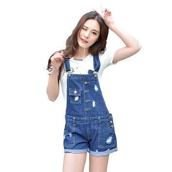 Womens Jumpsuit Denim Overalls 2016 Summer Jumpsuits & Rompers Casual Strap Hole Ripped Pockets Shorts Jeans Coverall LT1A