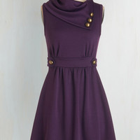 ModCloth Mid-length Sleeveless A-line Coach Tour Dress in Violet