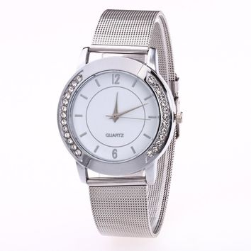 Fashion Women Crystalen Stainless Steel Analog Quartz Wrist Watch