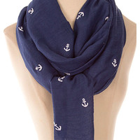 Sail Away Scarf ~ Navy