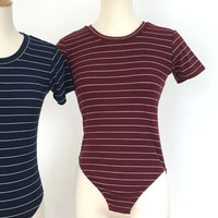 Striped Ribbed Bodysuit - Burgundy Red