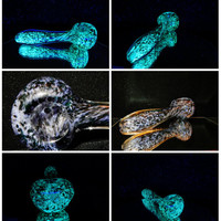 Glass glow in the dark pipe spoon. Periwinkle blue and Black.  Super bright blue glow. Cool pipe, Tobacco pipes, blue pipe,