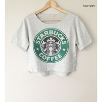 Starbucks Star Bucks Coffee Logo Women Top Wide Crop Fashion T shirt Free Size