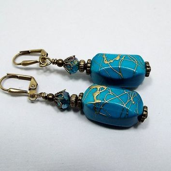 Blue Earrings, Turquoise Blue Color with Metallic Gold Drizzle, Vintage Style, Drop Earrings, Acrylic Beaded, Lever Back Hook
