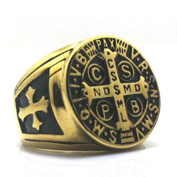 CSPB CSSML NDSMD Saint Benedict of Nursia 316L Stainless Steel Golden Catholic Church Christianity Jesus Exorcism Cross Ring