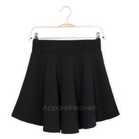 Women Candy Color Stretch Waist Plain Skater Flared Pleated Mini Skirt AP = 1958789252