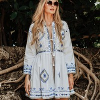 EMBROIDERED OPEN TIE TUNIC