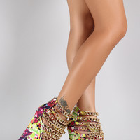Watercolor Strappy Gold Link Chain Up Open Toe Platform Wedge