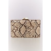 Let's Meet Snake Print Clutch (Tan)