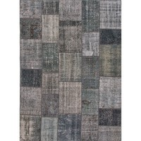 Patchwork Grey Over Dyed Rug