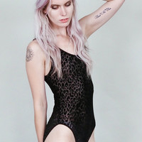 Ambush  - Sheer black velvet burnout leopard print bodysuit - sleeveless