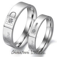 1 Pair 316L Stainless Steel Cubic Zirconia Key and Lock Fashion Jewelry Couple Rings US Size Women 5/6/7/8/9 Men 7/8/9/10/11 = 1930125188