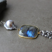 Labradorite Tassel  Necklace,  Baroque Pearl Necklace,Long Gemstone Pendant, Holiday Gift for her