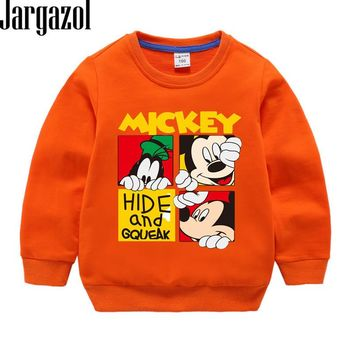 Kids Clothes Cartoon Letter Mickey Printed Autumn Spring Long Sleeve Sweater Toddler Baby Girl Boy Shirt Vetement Enfant Fille