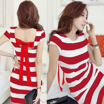 Women Dress Striped Print Cut Out Tie Bow Backless Short Sleeve Mini Bandage Sexy Casual One-Piece