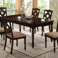 7 pc Southerland collection brown ash finish wood dining table set with padded seats and cross back designs