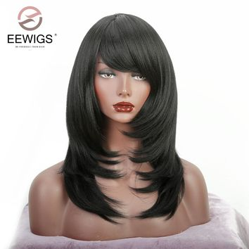 Short Wig with Oblique Bang Natural Yaki Straight Synthetic Wigs for Women Black Lace Front Wig Heat Resistant Natural Fiber